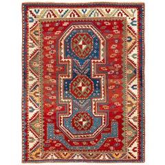 Antique Caucasian Fachralo Kazak Rug