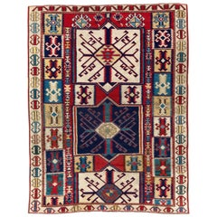 Antique Caucasian Shirvan Kuba Rug. Unusual Kilim Design