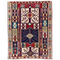 Antique Caucasian Rug with Unusual Kilim Design