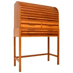 Retro Satin Wood, Mahogany and Oak Roll Top Bureau Vintage, 1950s