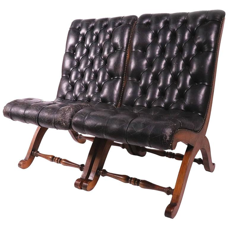Pair Of Leather Tufted Chairs By Pierre Lottier For Valenti For Sale