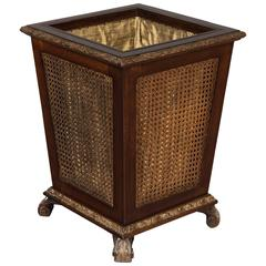Rare Edwardian Walnut and Parcel-Gilt Waste Paper Basket