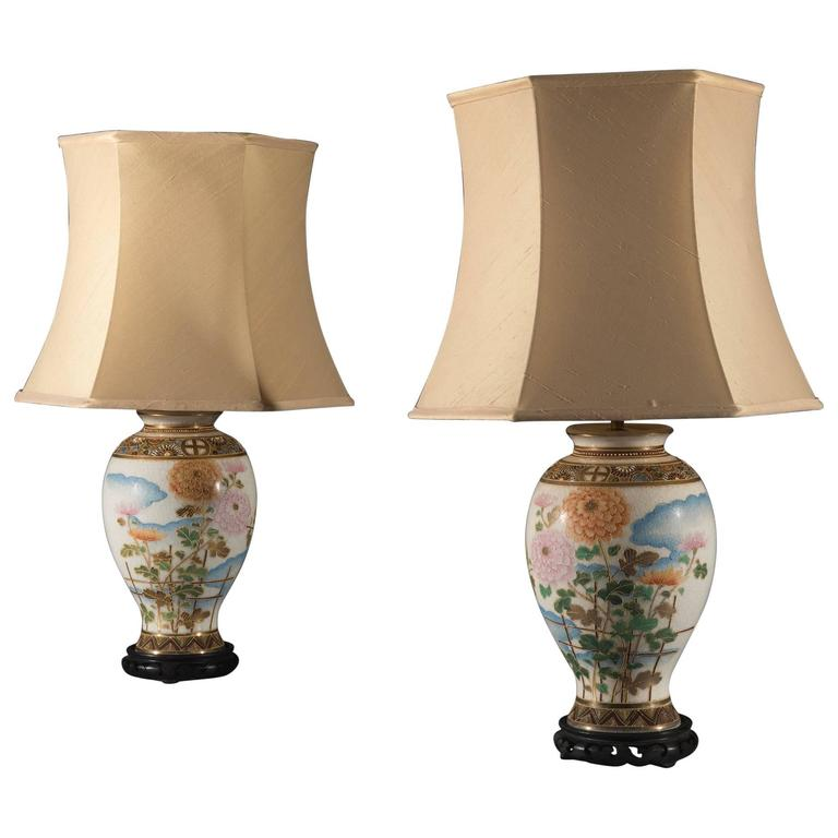 Pair of Meiji Period Satsuma Japanese Vases Converted to Lamps