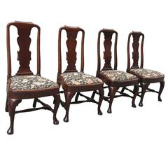 Set of Four 19th Century English Queen Anne Mahogany Splat Back Dining Chairs