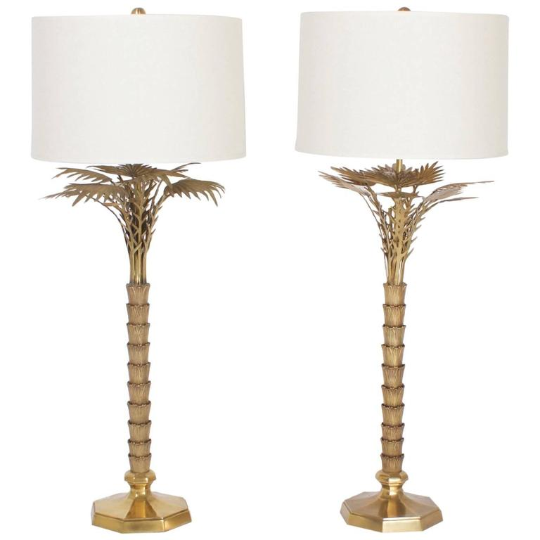 Pair Of Mid Century Br Stylized Palm Tree Table Lamps For