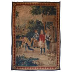 18th Century Large Aubusson Tapestry Outdoor Tavern Scene