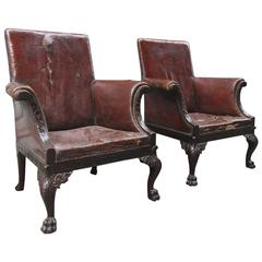 Large Pair of Early 19th Century Irish Chippendale Mahogany Library Chairs