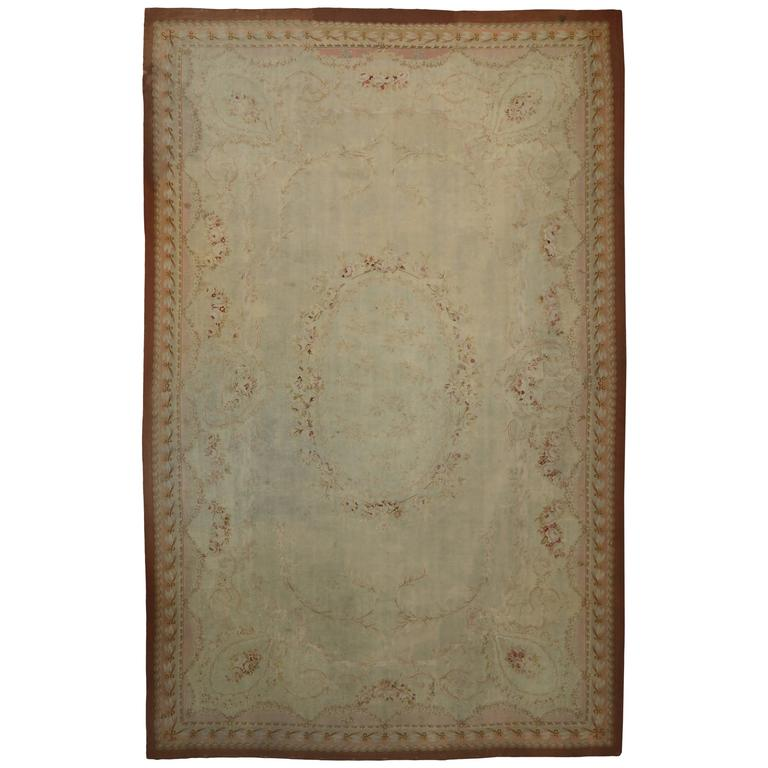Late 19th Century Antique French Aubusson Gallery Rug