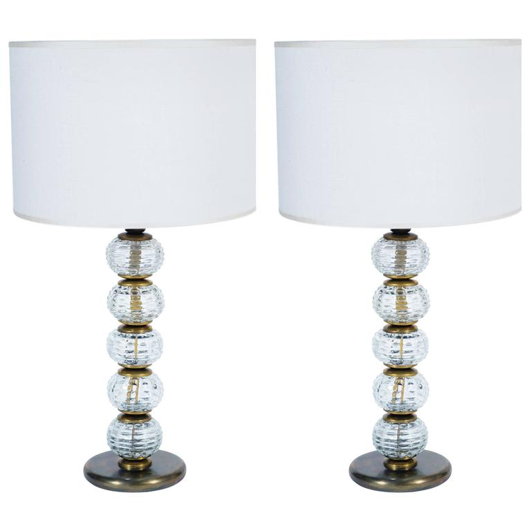 Pair of Mid-Century Murano Glass and Bronzed Brass Table Lamps by Barovier