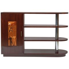 Art Deco Italian Inlaid Center Book Case Table Bar Signed by Regia Scuola d'Arte