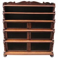 Early 19th Century West Indies Regency Rosewood Tiered Bookcase with Shell Motif