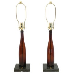 Antique Wine Bottle Table Lamp Pair Celebrating World War I Victory