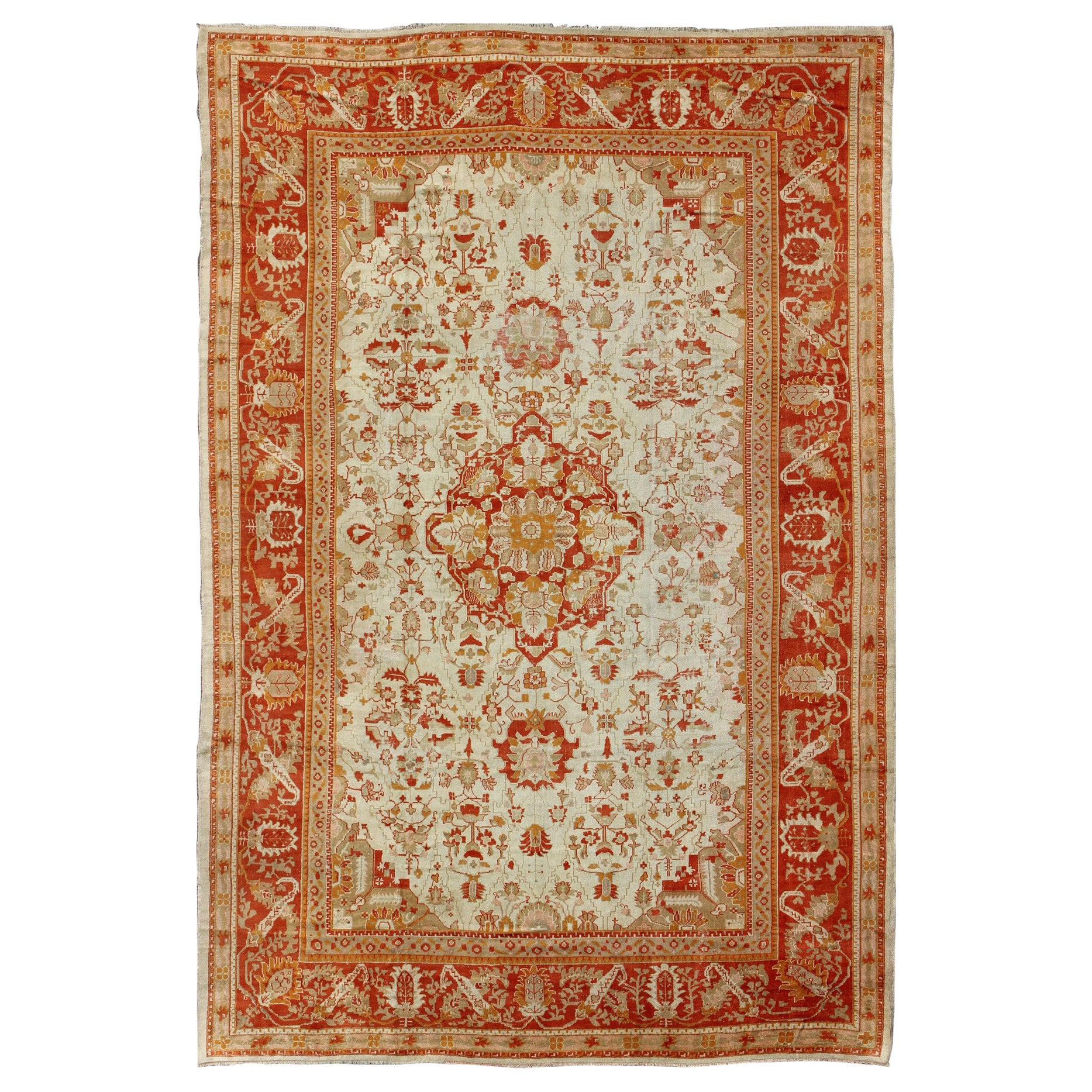 Antique Oushak Rug From Turkey With Floral Motifs In Red