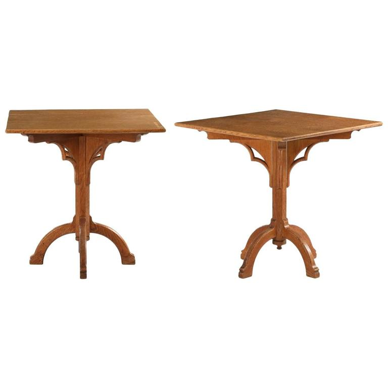 Pair of Arts & Crafts Oak Antique Side Tables in Gothic Taste