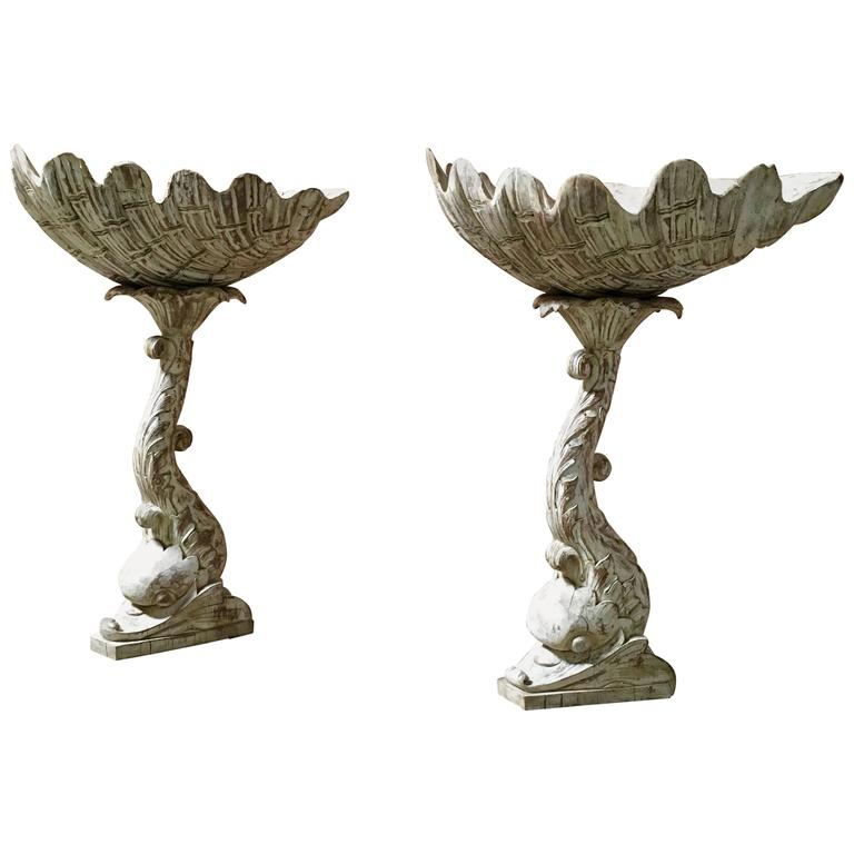Pair of Hand-Carved Grotto Style Plant Stands