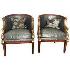 Pair of Beautiful Empire Style Chairs with Great Detail