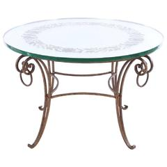 French Mirrored Coffee Table, style of Rene Drouet with Wrought Iron Base