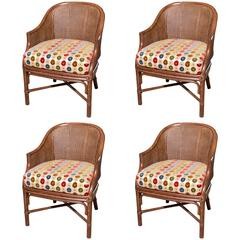 Set of Four Cane and Bamboo Barrel Back Chairs by McGuire