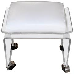 Mid-Century Lucite Bench on Castors with Leather Upholstery