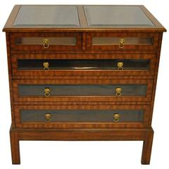 Satinwood Glass Top and Glass Front Five-Drawer Chest by Maitland Smith