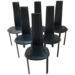 Set of Six Italian Leather Dining Chairs