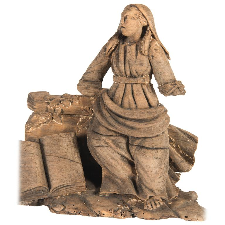 Hand-Carved 'Lady with Book' Architectural Element For Sale