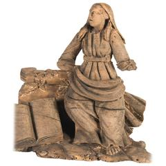 Hand-Carved 'Lady with Book' Architectural Element