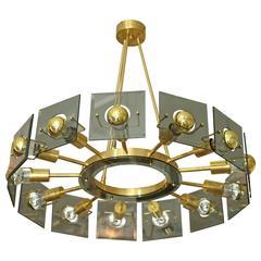 Italian Brass and Smoked Glass Chandelier
