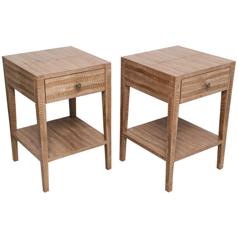 Pair of Vintage Snakeskin Side Tables For Sale