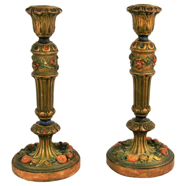 Pair of Polychrome Candlestick