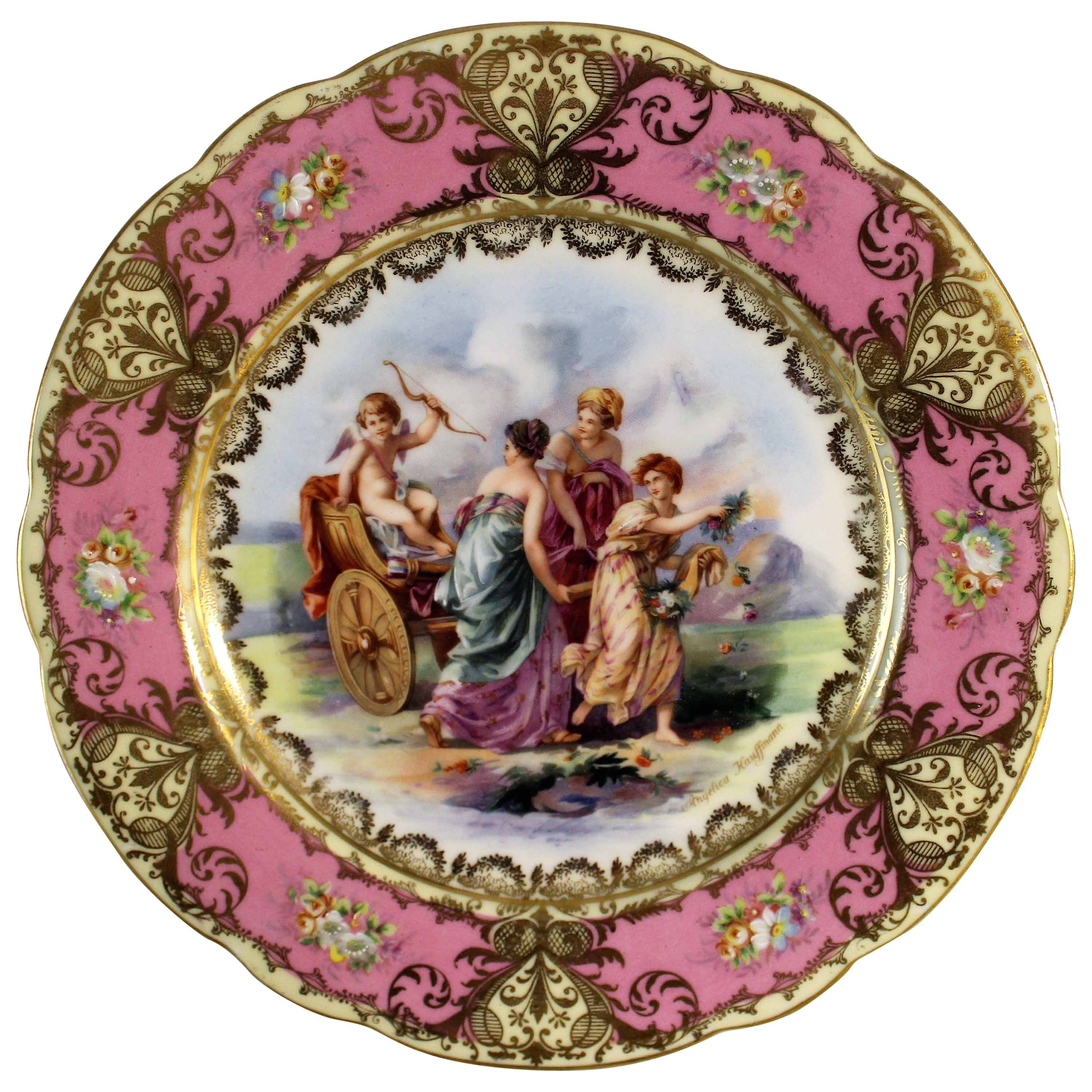 Royal Vienna Style Porcelain Charger After Angelika Kauffmann