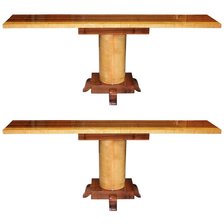 Long Pair of French Art Deco Palisander with Sycamore Console Tables, circa 1940 For Sale