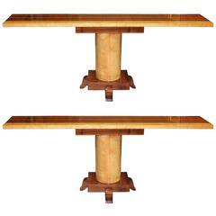 Long Pair of French Art Deco Palisander with Sycamore Console Tables, circa 1940