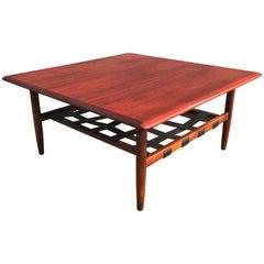 Mid-Century Danish Solid Teakwood Coffee Table with Black Leather Magazine Rack