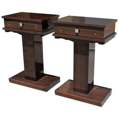 Pair of French Art Deco Exotic Macassar Ebony Night Tables or End Tables, 1940s