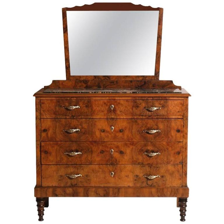 Venetian Art Deco Chest of Drawers in Walnut and Burl Walnut Top in Black Marble