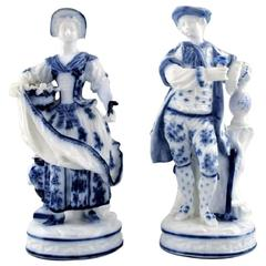 Two Antique Porcelain Figurines, Meissen, 19th Century
