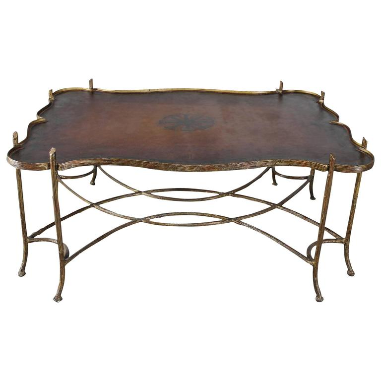 Vintage Gilded Iron Faux Bois Coffee Table With Tole Painted Tray