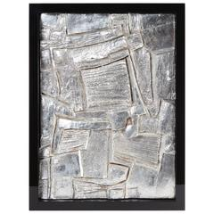 Mid-20th Century French Framed Abstract Plaster/Silver Leaf Sculpture #2