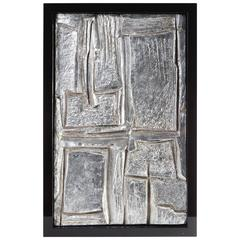 Mid-20th Century French Framed Abstract Plaster/Silver Leaf Sculpture #1