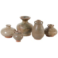 19th Century Collection of Small Celedon Thai Pots