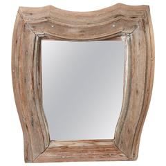 19th Century French Bleached Wood Mirror