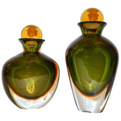 Formia Modern Italian Pair of Ovoid Yellow Green Orange Murano Glass Bottles