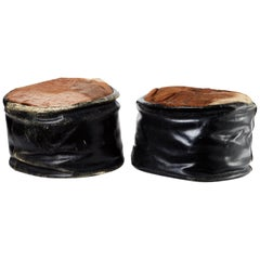 Early 20th Century, American Leather/Hair on Hide Ottomans