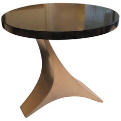 Small and Stylish End Table with Dark Brown Top over Curved Chrome Base