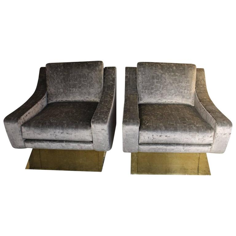 Armchairs 1960s Style in devorè velvet and Brass