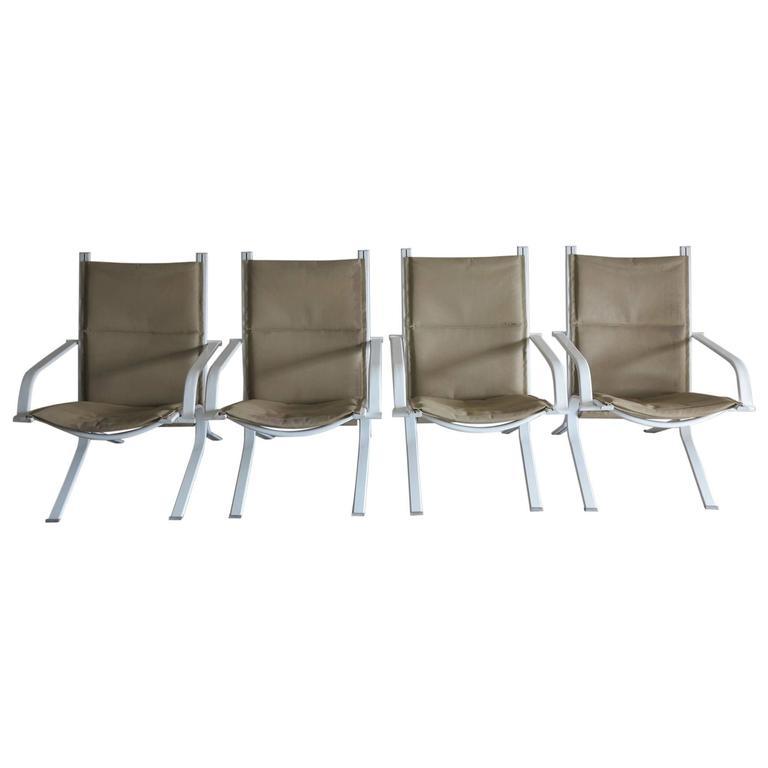 Vintage Brown Jordan Elan Collection Four Patio Chairs, 1980s
