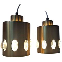 Pair of Danish Mid-Century Brass and Crystal Pendant Lights from Vitrika, 1960s