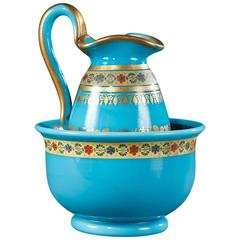 Bowl and Pitcher in Blue Opaline with Desvignes Decoration