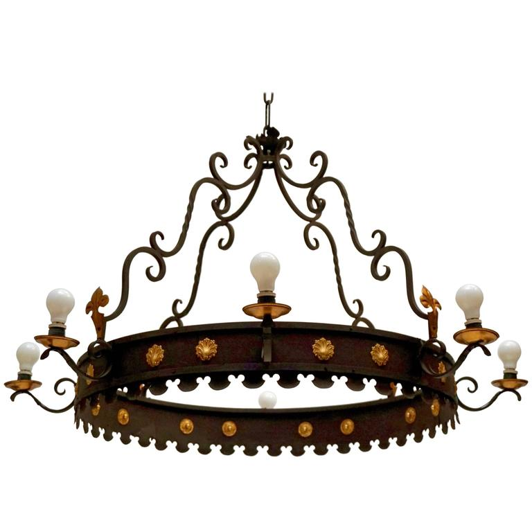 Large round wrought iron chandelier with modified fleur de lis pair of large wrought iron chandeliers aloadofball Gallery